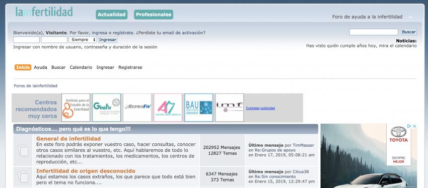 Screen capture. La infertilidad web forum