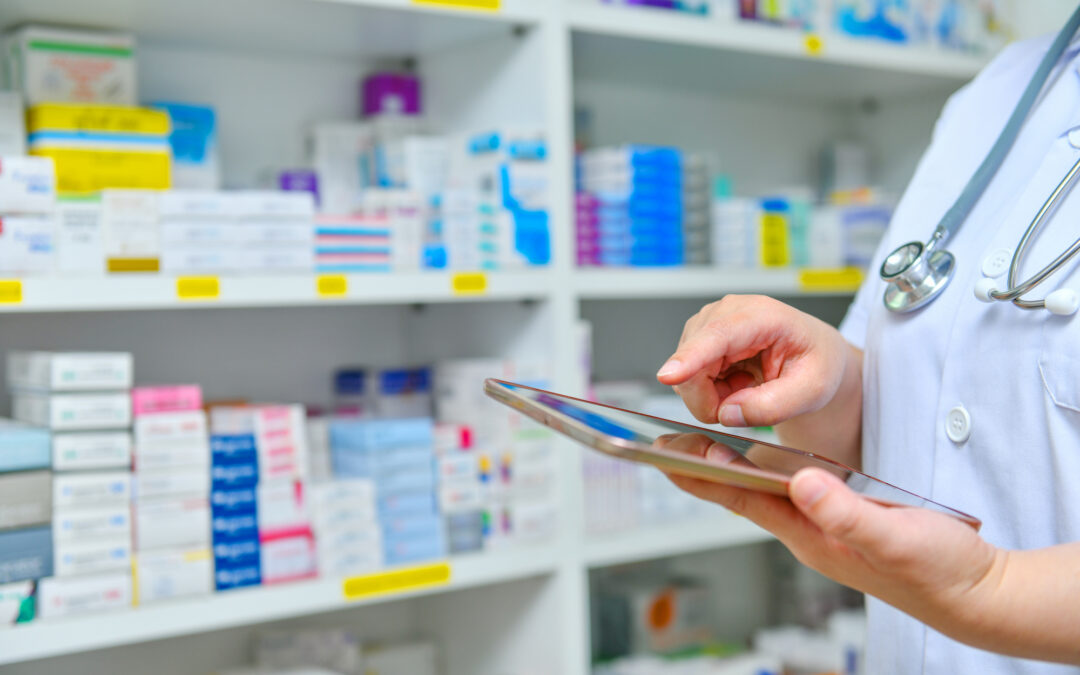doctor-using-computer-tablet-search-bar-display-pharmacy-drugstore-shelves-background-online-medical-concept